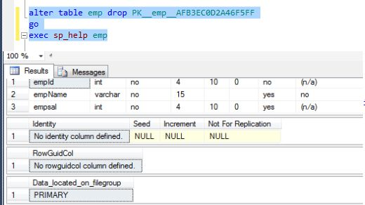 Oracle sql drop table primary key - Alter table add constraint primary key ...
