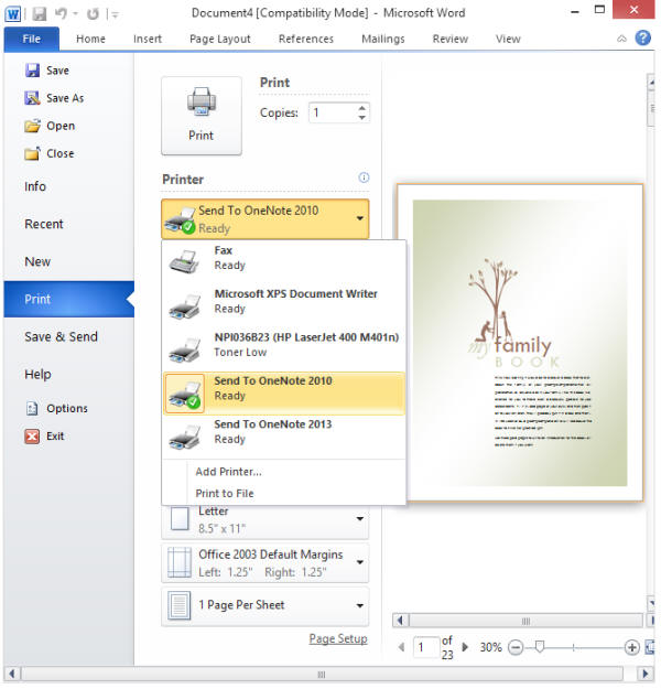 how to change quick print settings in word