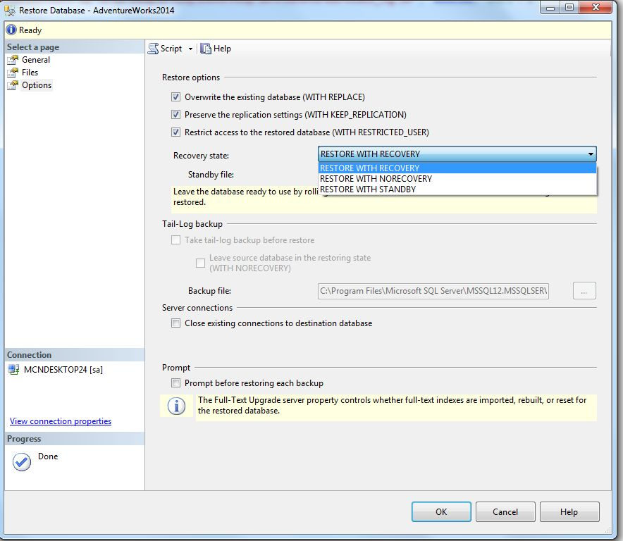 how to restore sql backup file